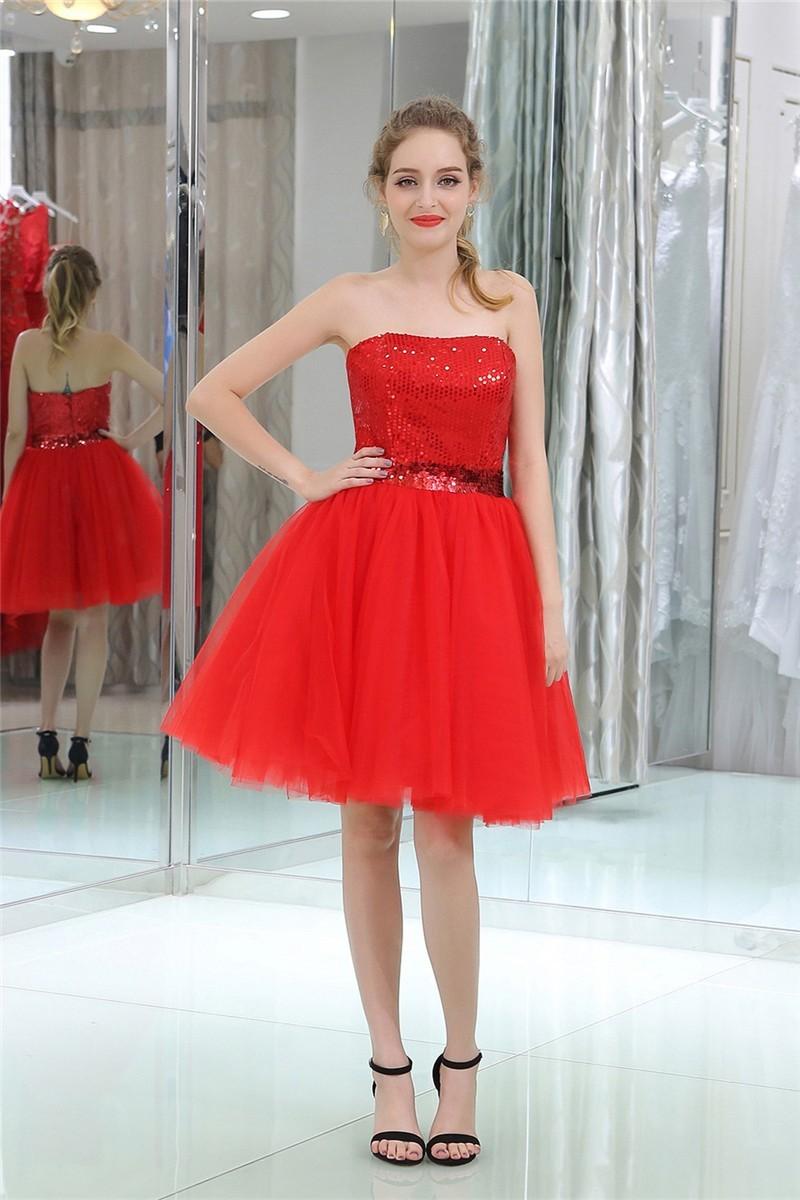 Short One-Shoulder Red Cocktail Dress - PromGirl