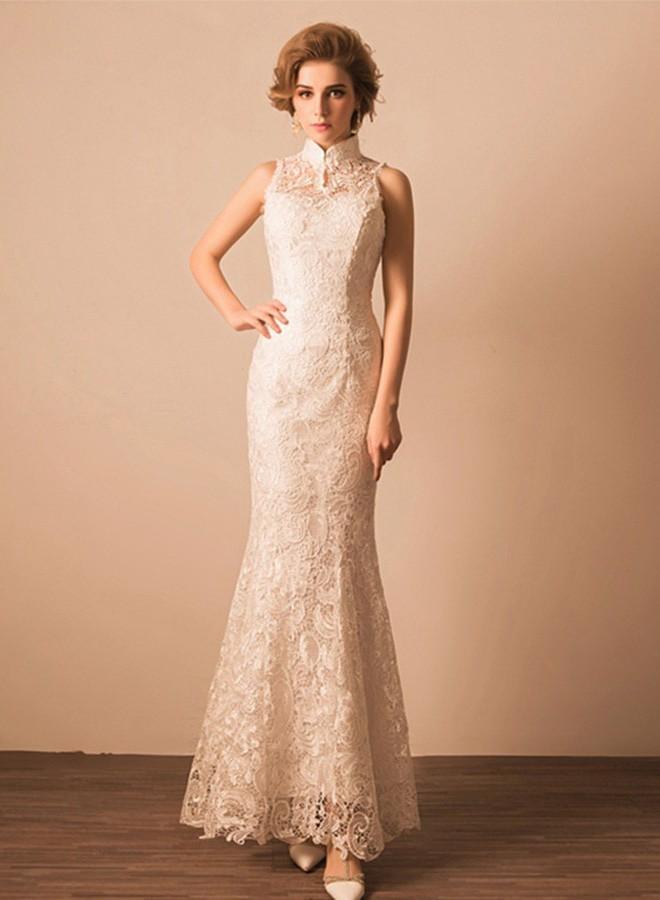 Wedding Dress No Train | Slim Mermaid High Neck Collar Venice Heavy Lace Wedding Dress