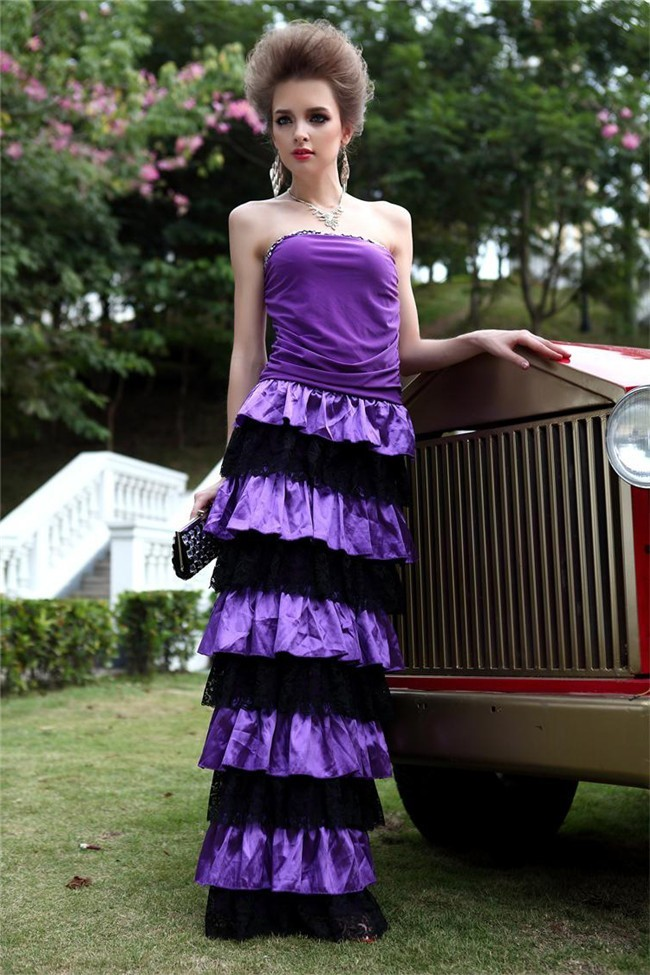 1443af97a8637 Slim Strapless Purple Jersey Black Lace Ruffle Tiered Special Occasion  Evening Dress
