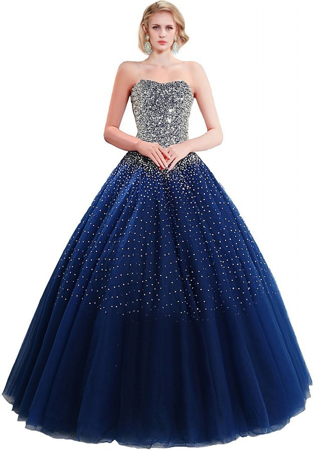 Sparkly Ball Gown Strapless Navy Blue Tulle Beaded Prom Dress Corset ...