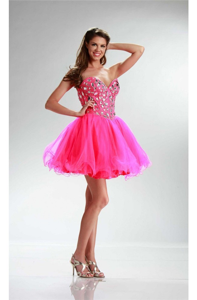 Sparkly Ball Strapless Short Hot Pink Tulle Rhinestone Prom Dress
