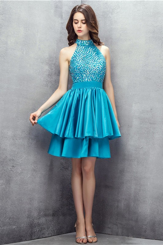 Sparkly Halter Cutout Back Short Turquoise Satin Beaded Prom Dress