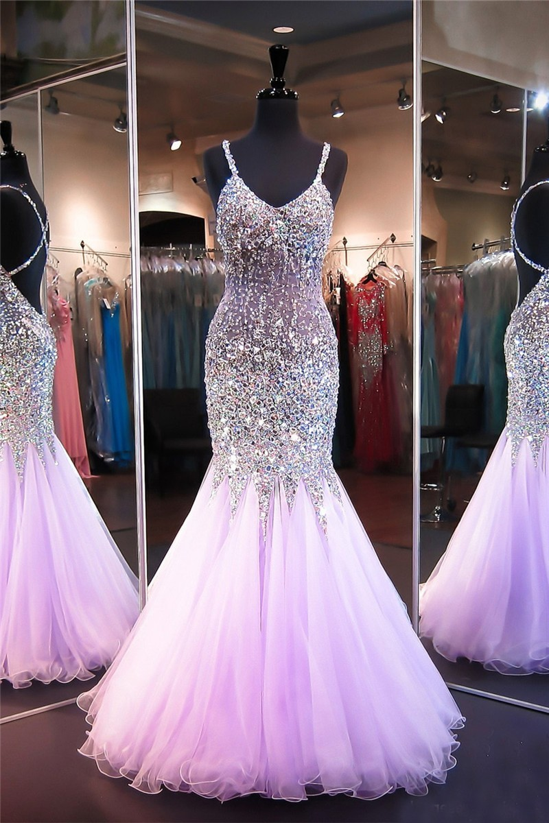 Sparkly Mermaid Crisscross Back Lilac Tulle Beaded See Through Prom
