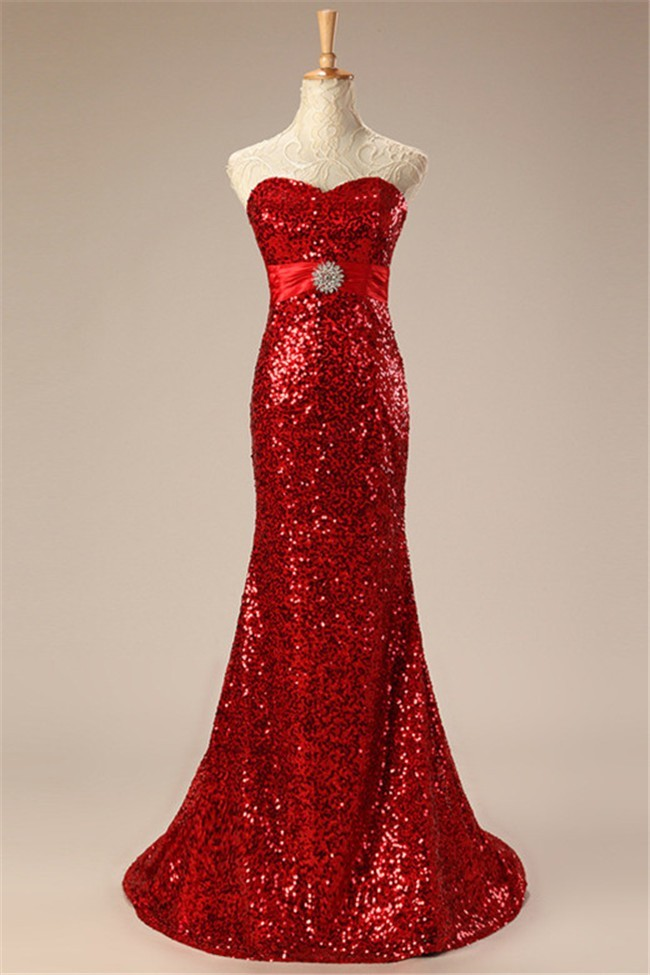 Sparkly Mermaid Sweetheart Red Sequin Prom Dress