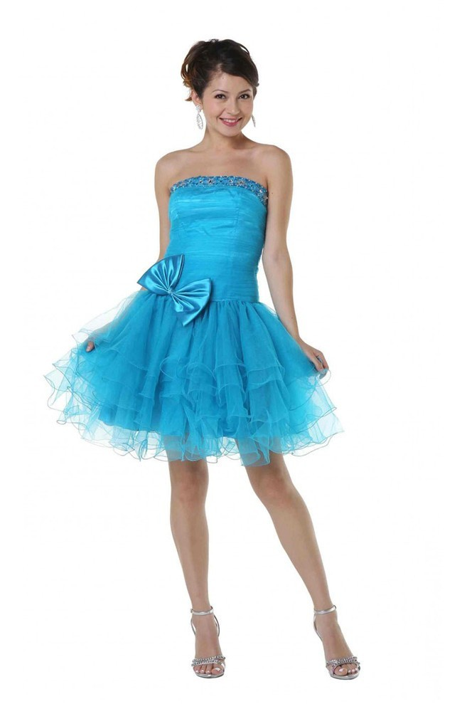 Strapless Drop Waist Short Turquoise Tulle Beaded Prom Dress With Bow