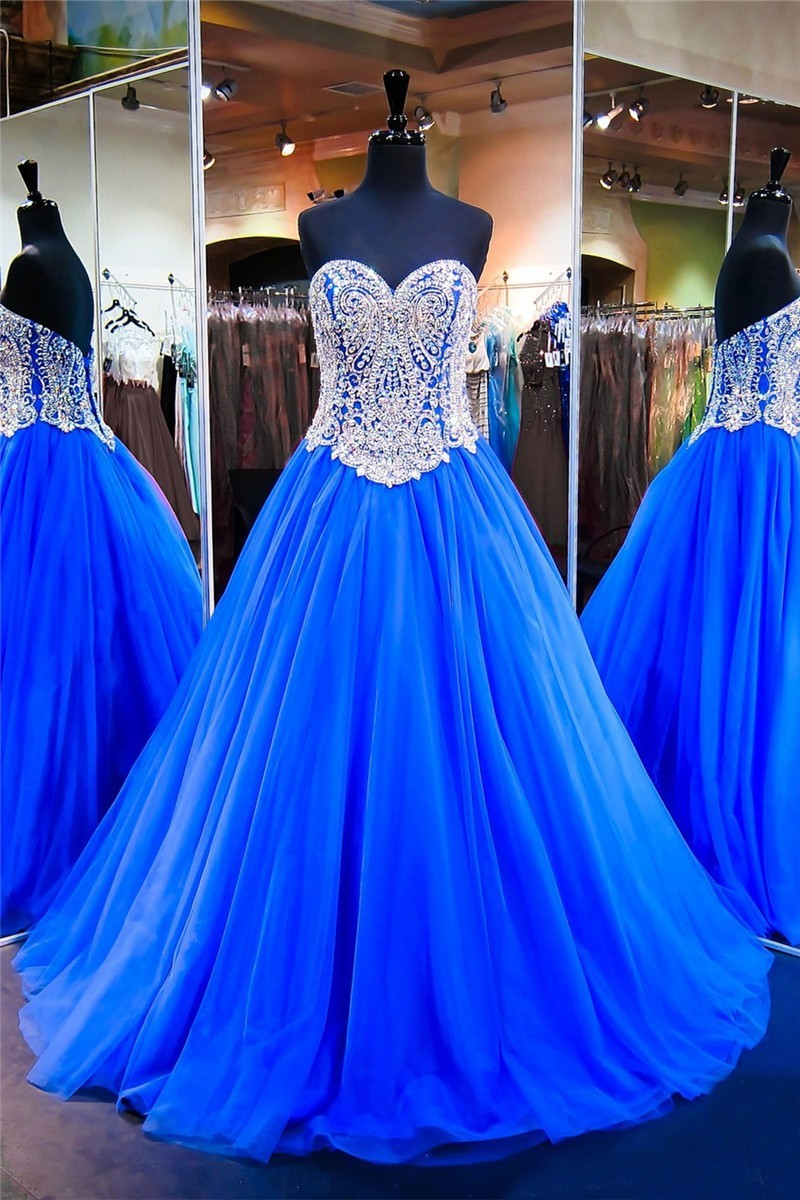 Stunning Ball Gown Sweetheart Royal Blue Tulle Beaded Prom Dress ...