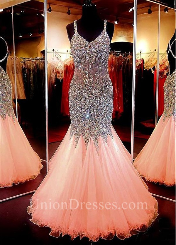 stunning mermaid backless blush pink tulle beaded prom