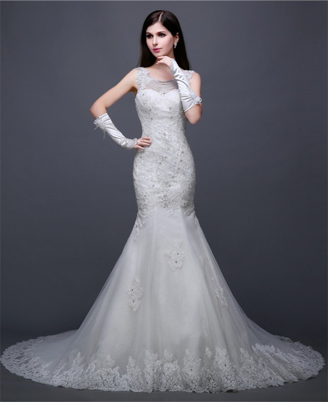 Stunning Mermaid Jewel Neckline Open Back Tulle Lace Beaded Wedding ...