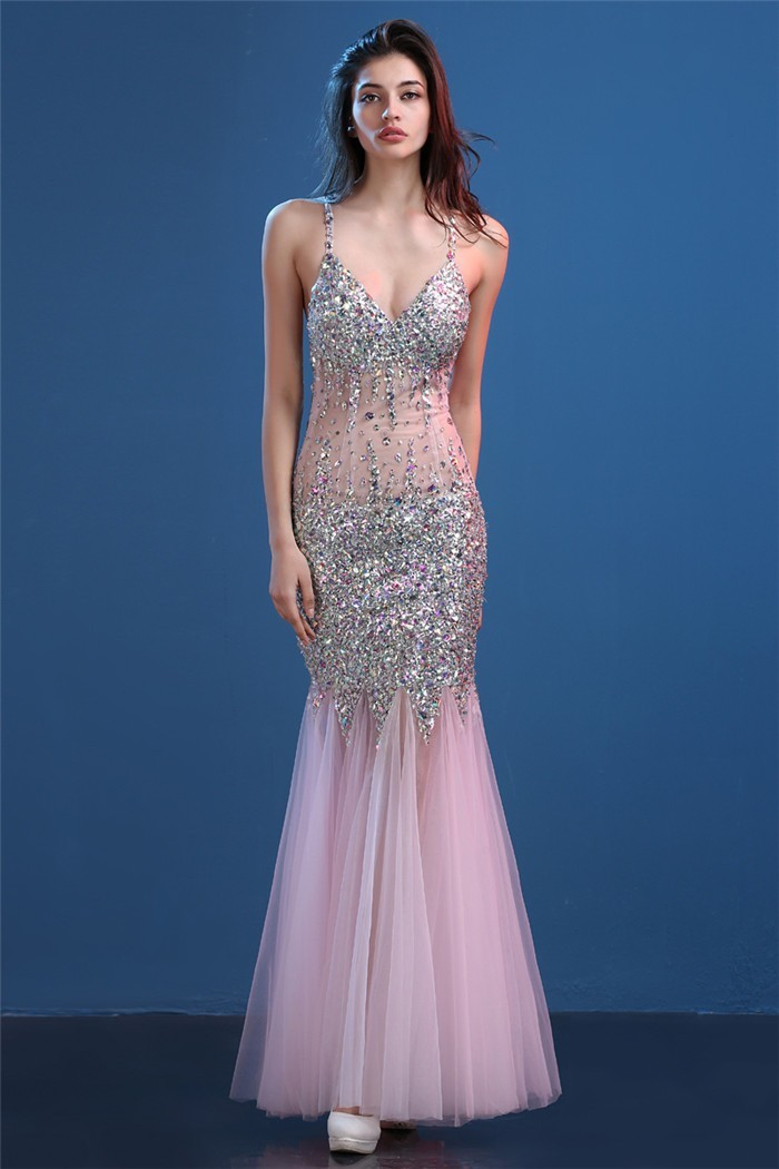 Pink Sheer Prom Dress