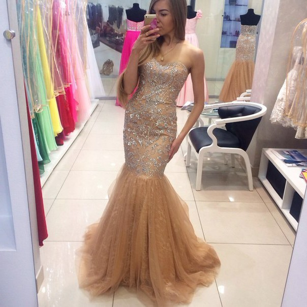 6f0445d02a97 Stunning Mermaid Sweetheart Gold Lace Beaded Crystal Prom Dress
