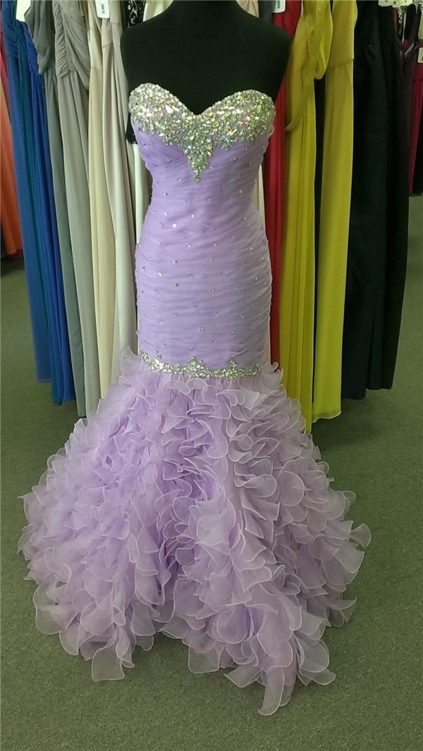 73d5ce4e58 Stunning Mermaid Sweetheart Lavender Organza Ruffle Beaded Prom Dress  Corset Back