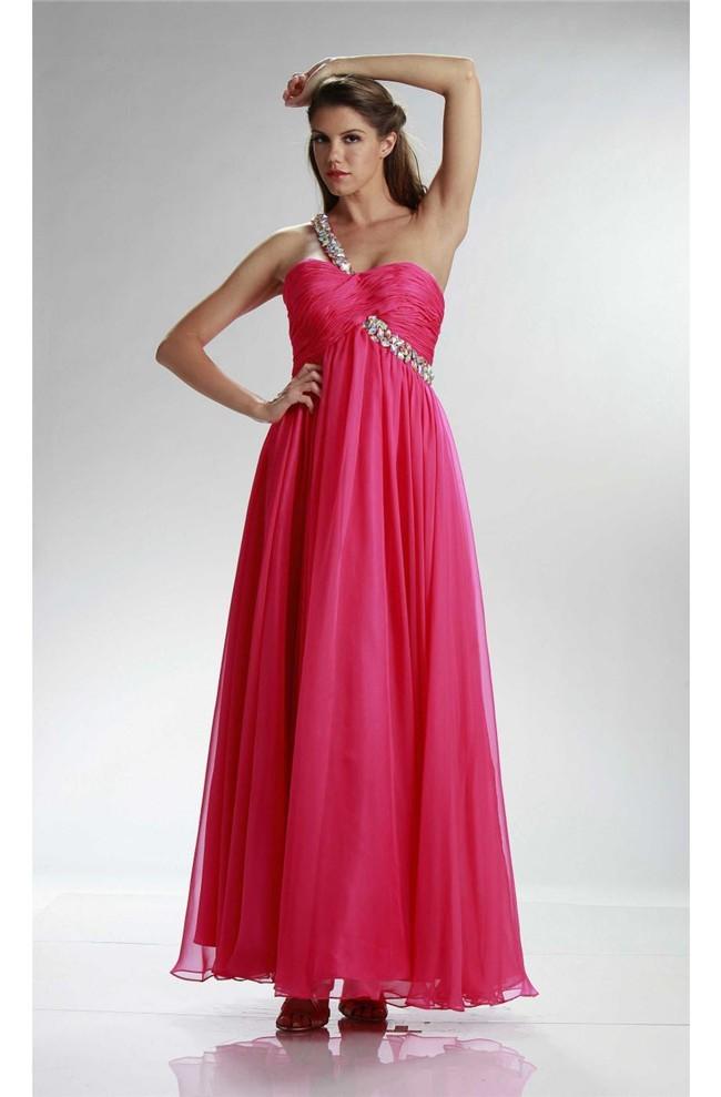 Stunning One Shoulder Empire Waist Long Hot Pink Chiffon Prom Dress