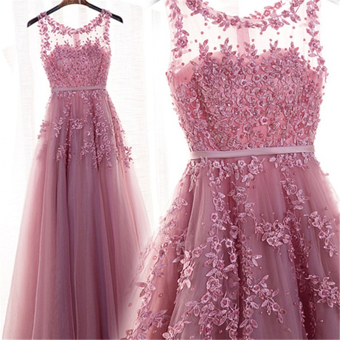 Stunning Scoop Neck Long Dusty Rose Tulle Lace Prom Dress