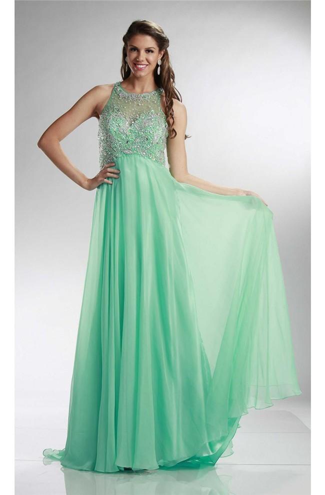Stunning Sheath Keyhole Back Long Mint Green Chiffon Beaded Prom Dress