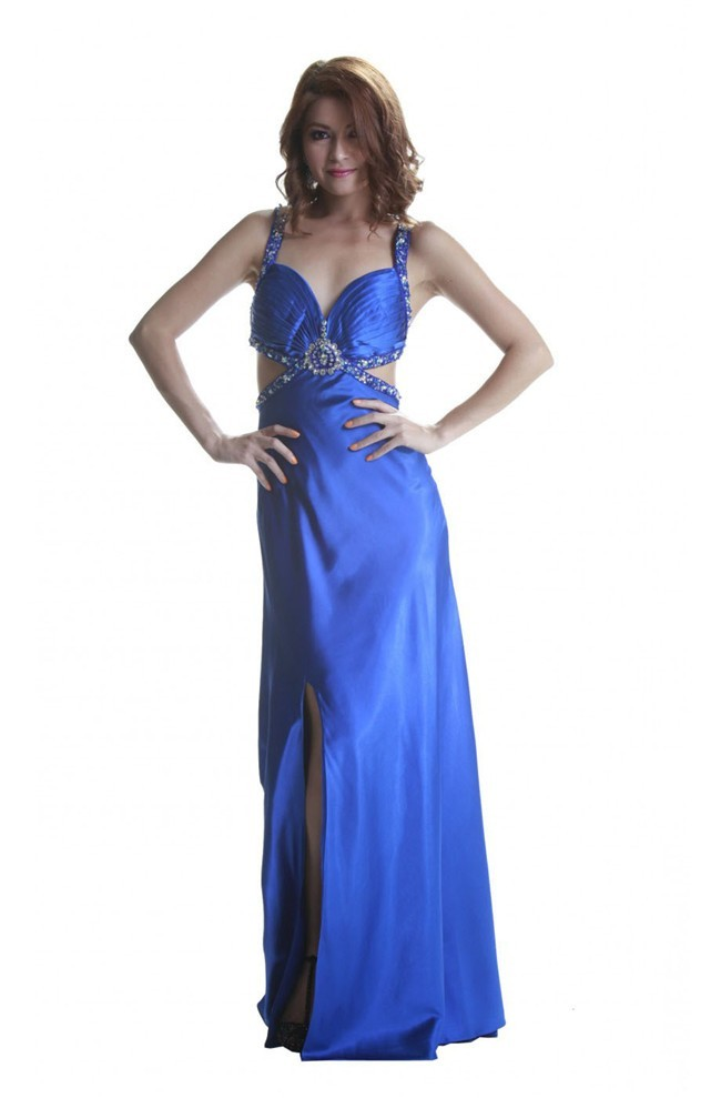 Stunning Side Cutout Slit Royal Blue Prom Dress With Straps