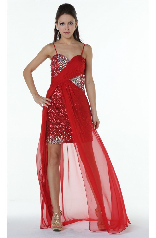 ad14490067 Stunning Sweetheart High Low Red Chiffon Sequined Prom Dress With Straps