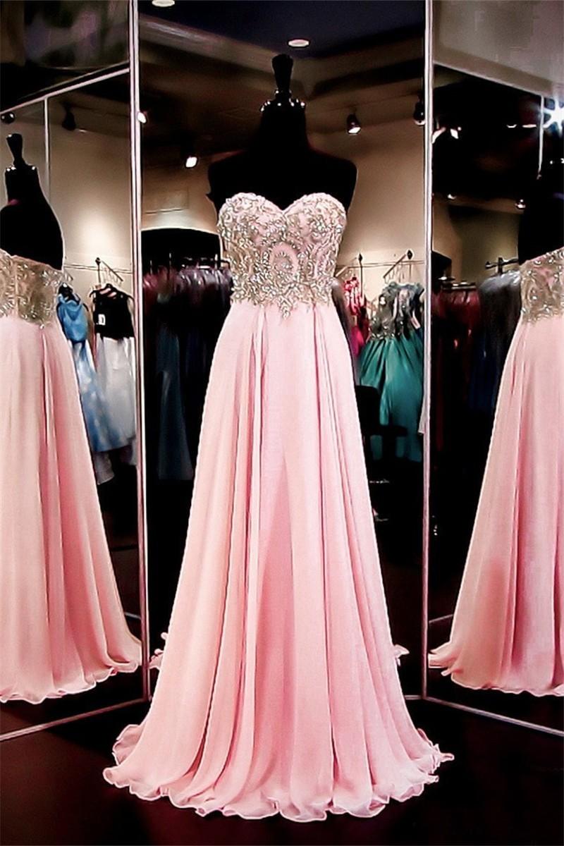 Stunning Sweetheart Long Pink Chiffon Gold Embroidery Prom Dress