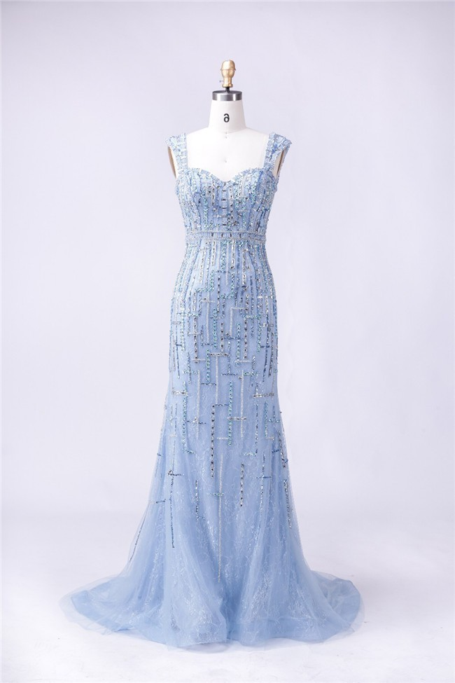 Stunning Sweetheart Strap Open Back Light Blue Lace Tulle Beaded ...
