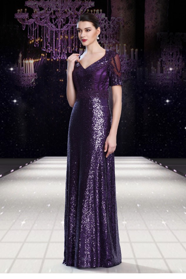 Stunning V Neck Sheer Back Long Purple Sequin Formal Occasion