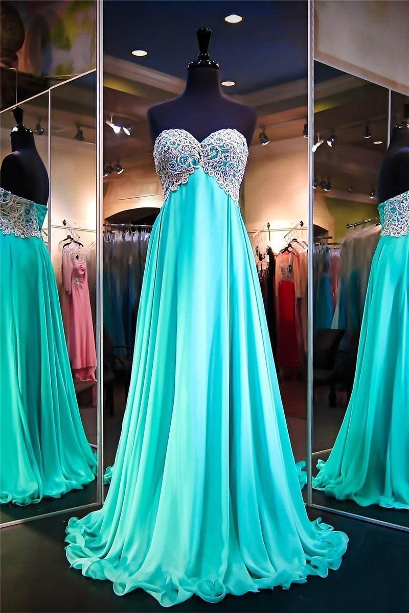 Sweetheart Empire Waist Long Green Chiffon Embroidery Prom Dress ...
