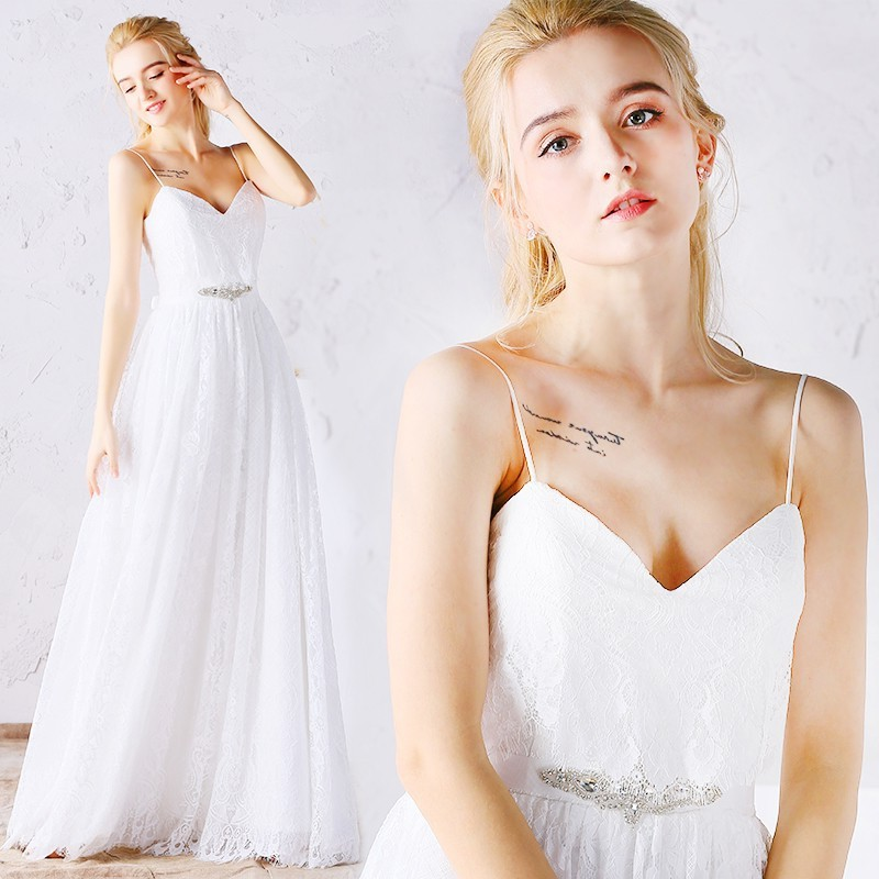 Sweetheart Spaghetti Strap Lace Destination Beach Wedding Dress ...