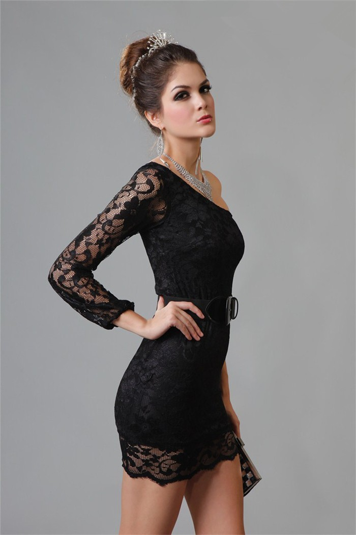 Tight One Shoulder Sleeved Short Little Black Lace Party Prom Dress