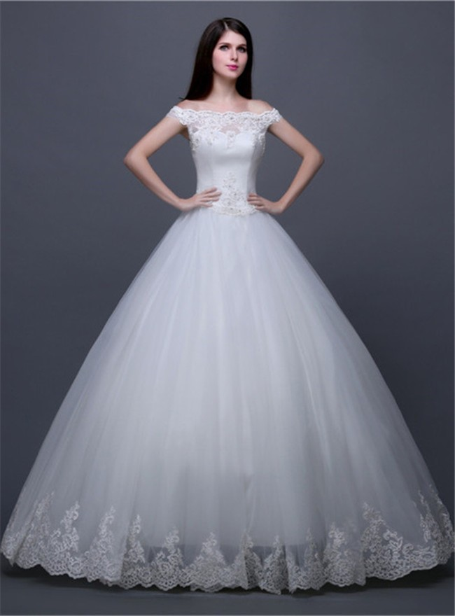 Traditional Ball Gown Off The Shoulder Tulle Lace Corset Wedding ...