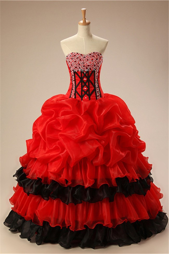 Traditional Ball Gown Strapless Black And Red Organza Ruffle Prom Dress