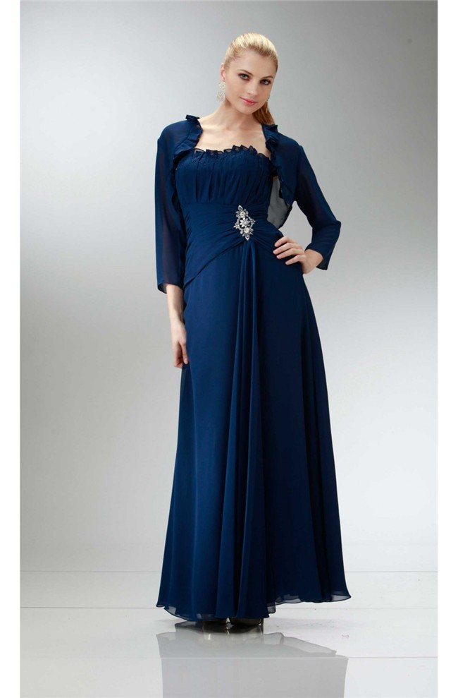 Traditional Strapless Navy Blue Chiffon Mother Evening Dress Bolero