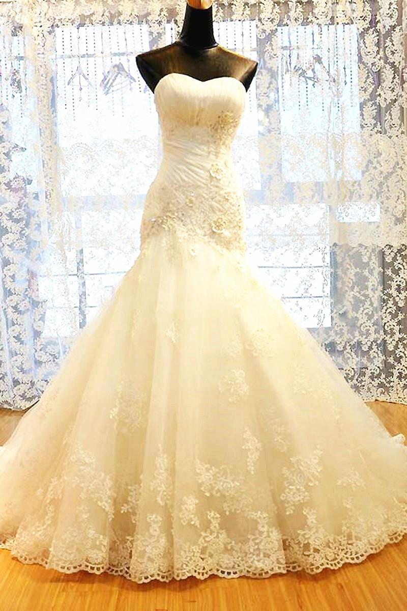 Trumpet mermaid strapless corset back tulle lace wedding for Strapless corsets for under wedding dresses