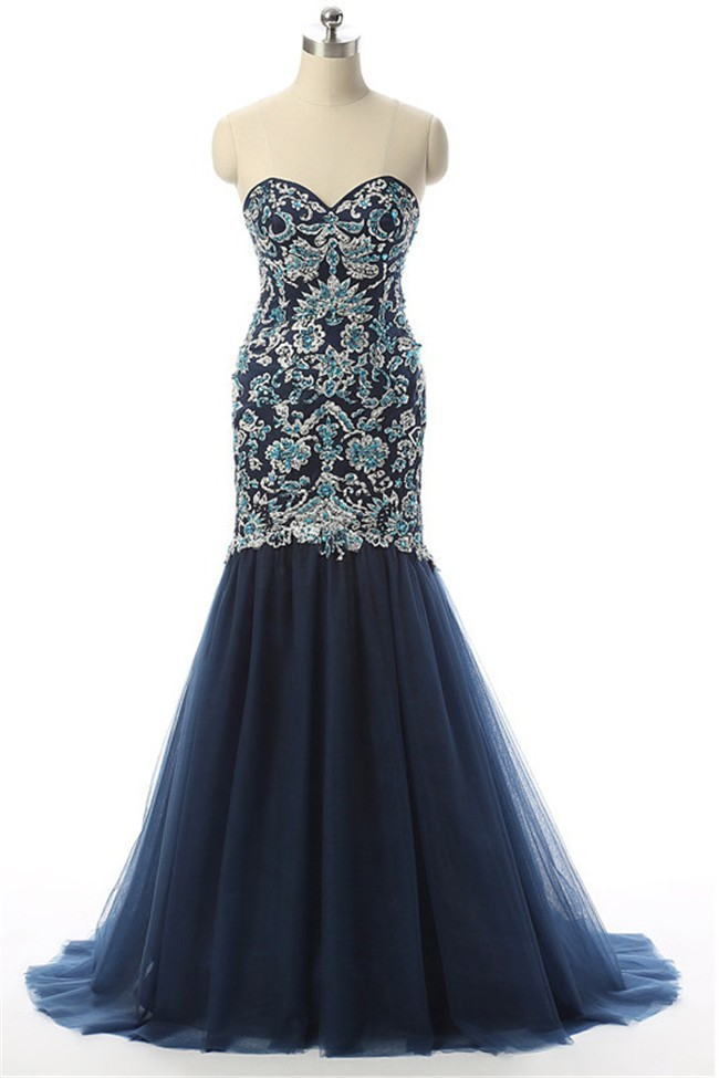 Trumpet Mermaid Sweetheart Navy Blue Tulle Embroidery Prom Dress