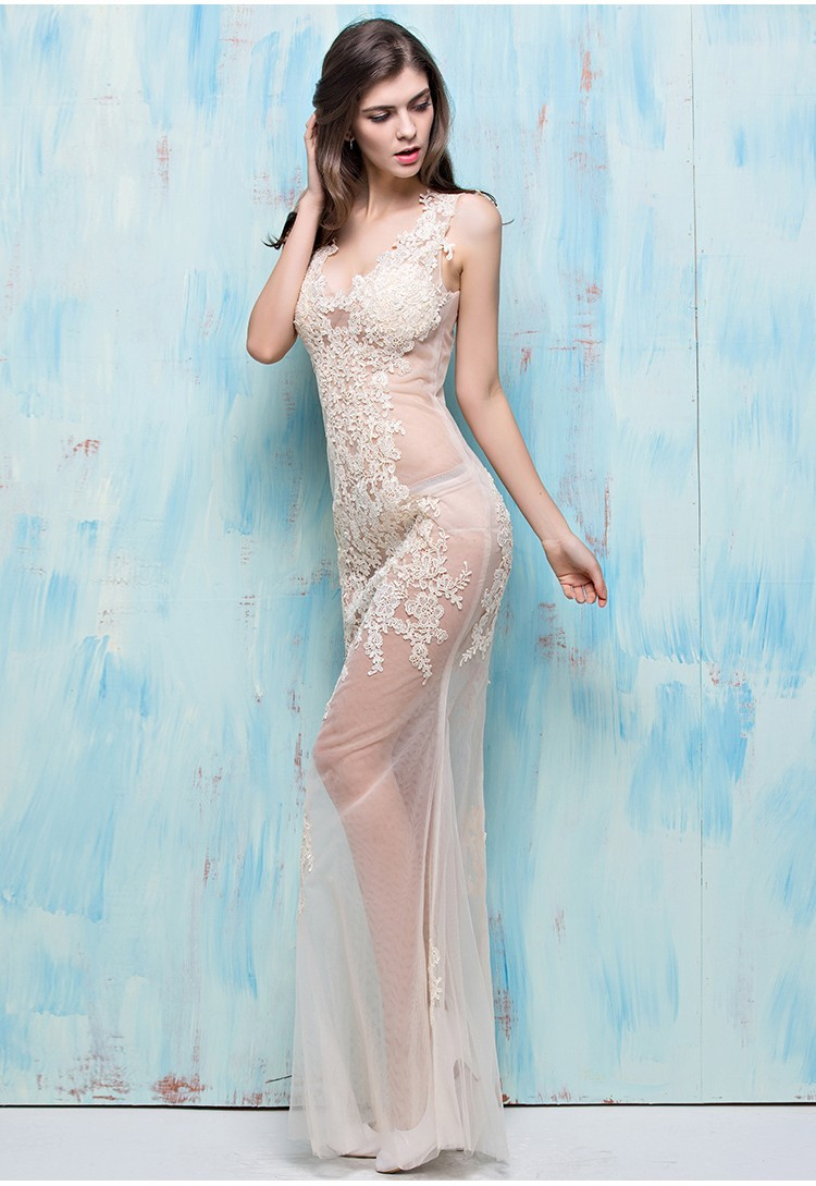 Unique Sexy Mermaid V Neck Open Back Champagne Tulle Lace Sheer ...