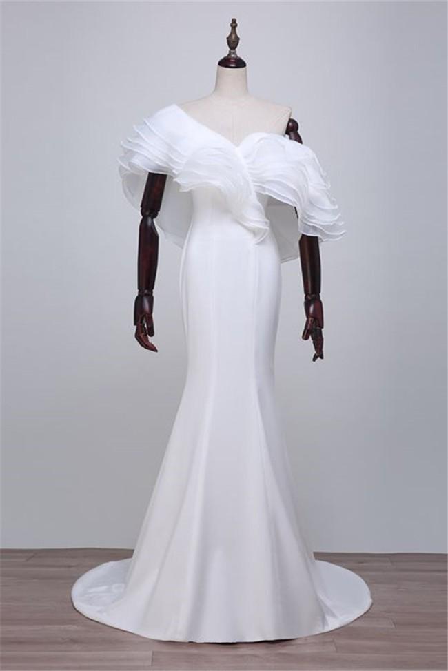 2de60aa53f62 Unique Sexy White Organza Ruffle Layered Special Occasion Prom Dress