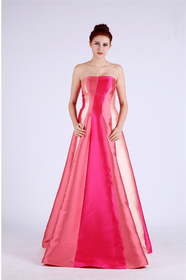 Unusual A Line Strapless Long Multi Color Taffeta Occasion Prom Dress