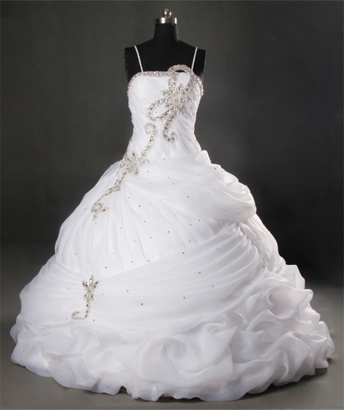 Unusual ball gown spaghetti strap organza ruched wedding for Spaghetti strap ball gown wedding dress