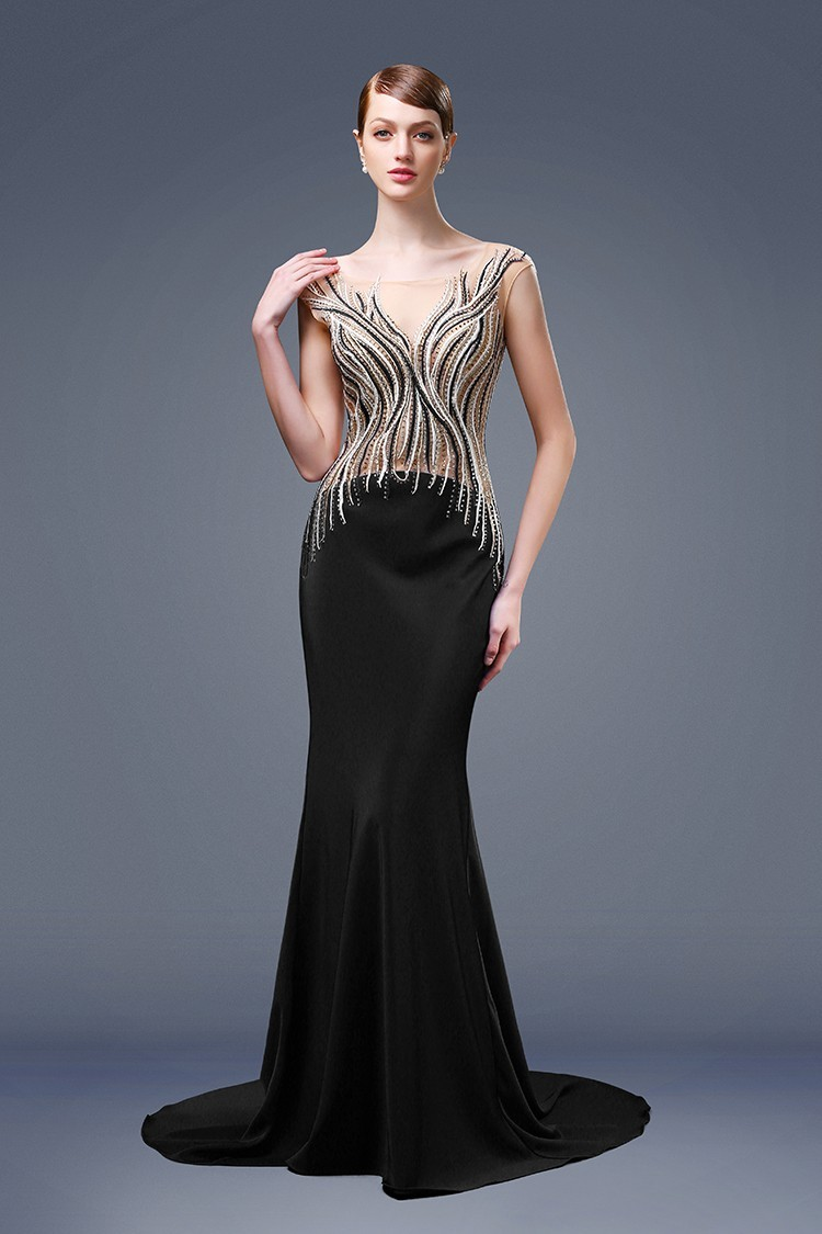 Unusual Mermaid Boat Neck Black Satin Beaded Formal Occasion Evening ...