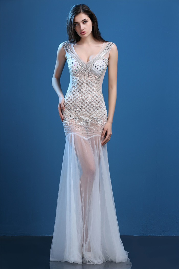 Unusual Sexy V Neck Sheer See Through White Tulle Beaded Special Occasion Prom Dress