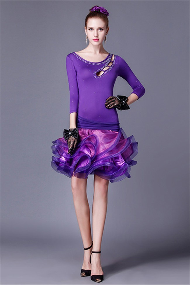 Unusual Tight Cut Out Purple Jersey Beaded Organza Ruffle Floral ...