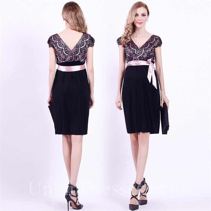 3a827108364d V Neck Cap Sleeve Empire Waist Short Black Jersey Lace Maternity Party Dress  With Sash