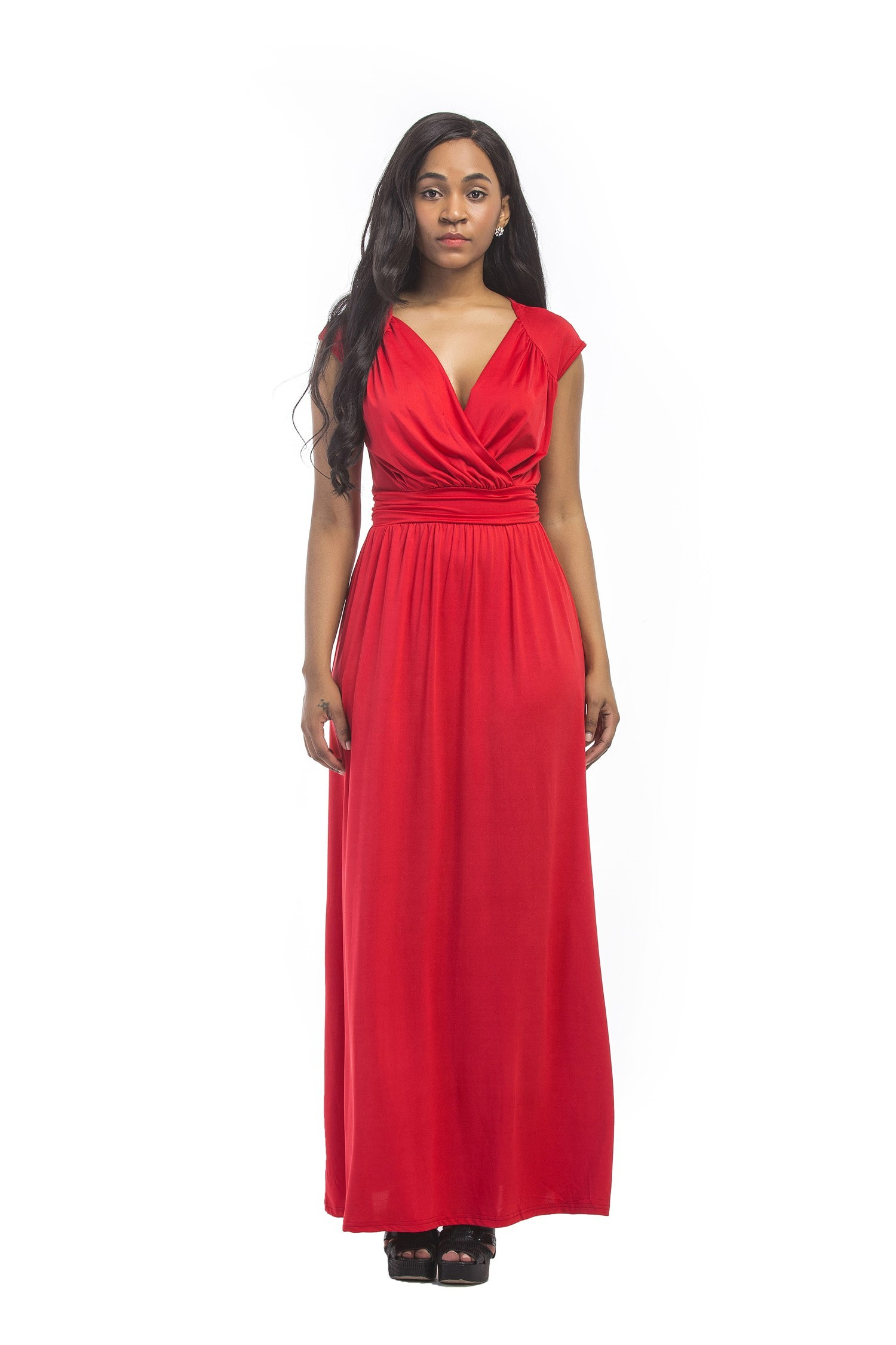83992020eeb5 V Neck Cap Sleeve Maxi Length Red Jersey Ruched Evening Dress