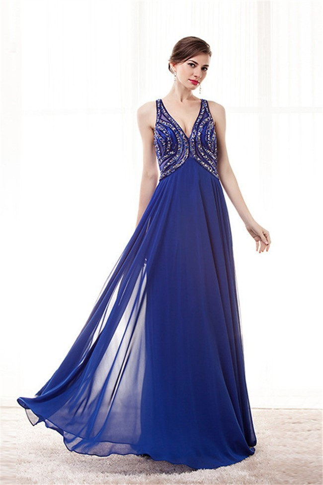 V Neck Empire Waist Cut Out Back Long Royal Blue Chiffon Beaded Prom
