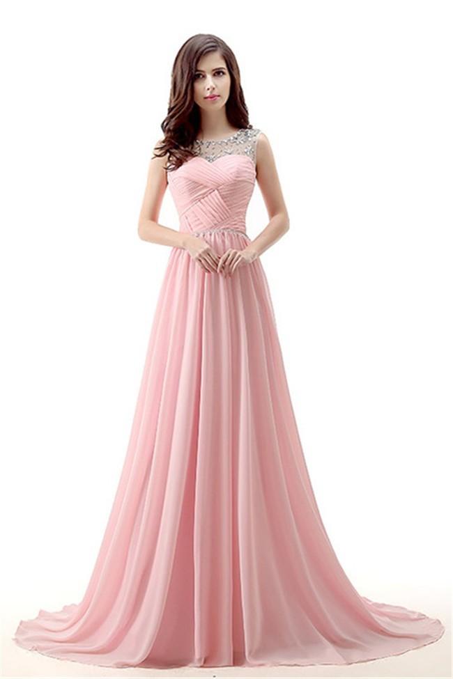 Wondeful A Line Jewel Neckline Long Light Pink Chiffon Special ...