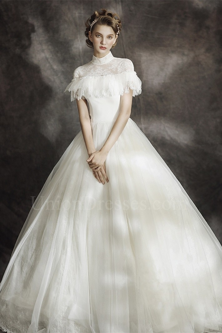 Modest Ball Gown High Neck Corset Cap Sleeve Keyhole In Back Lace