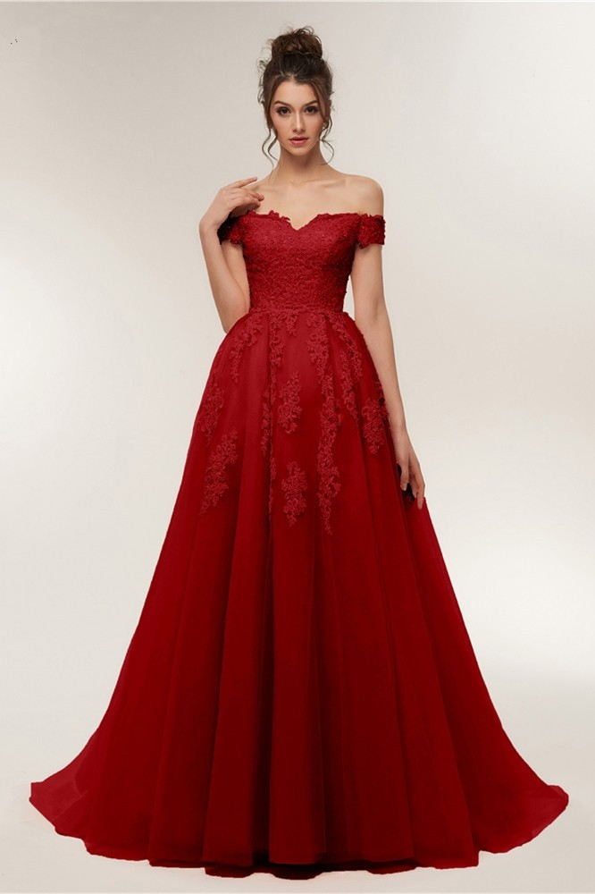New Arrival Ball Gown Off The Shoulder Beaded Appliques Red Peach ...