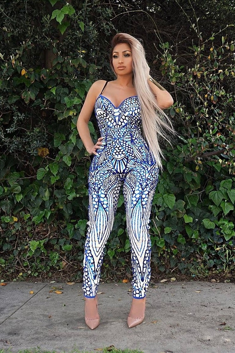fe8445c14a50 Sweetheart Spaghetti Strap Printed Bodycon Rompers Women Jumpsuit