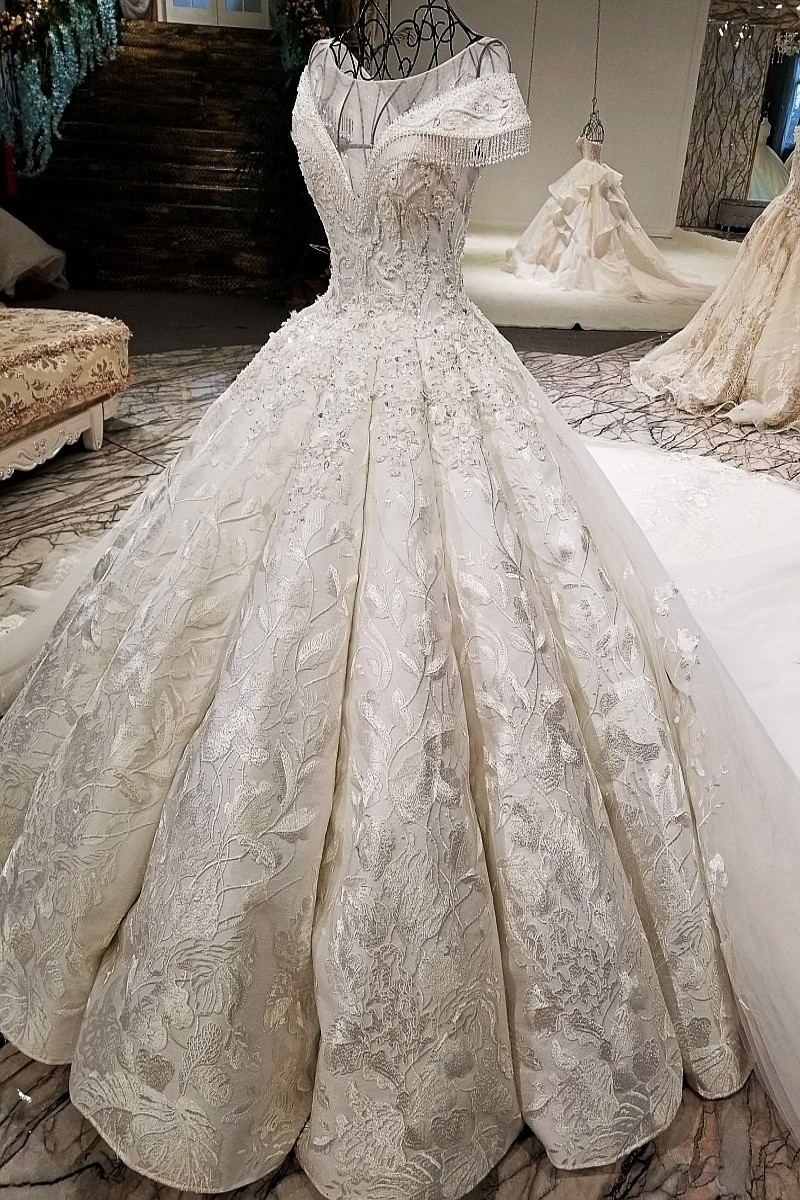 37c8a5f94e618 Gorgeous Ball Gown Boat Neckline Cap Sleeve Corset Pearl Beaded Ivory Lace  Wedding Dress