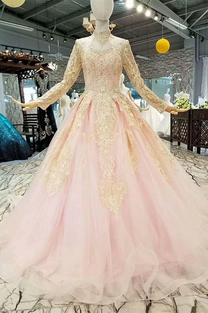 Modest Ball Gown High Neck Long Sleeve Corset Beaded Gold Lace Pink