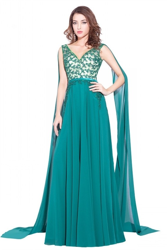 4f10a6bc5 Elegant A Line V Neck Crystal Beaded Appliques Turquoise Chiffon Prom  Evening Dress