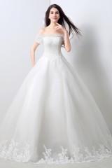 d592096b68 ... Ball Gown Off The Shoulder Drop Waist Corset Back Tulle Lace Wedding  Dress