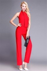 03e7af71d9 ... High Neck Open Back Red Jersey Special Occasion Evening Jumpsuit. Add to  Cart